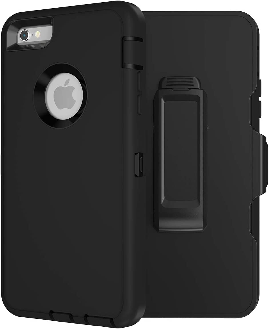 MXX Heavy Duty Defender Case Compatible with iPhone 6S/ iPhone 6 TPU and PC Case with 360 Degree Rotating Belt Clip (Black)