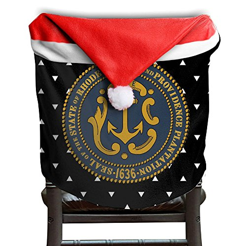 Seal Of Rhode Island Santa Christmas Chair Back Cover Dining Chair Slipcovers Party Decor For Xmas Decorations