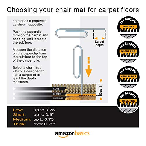 Image of Amazon Basics Polycarbonate Office Carpet Chair Mat, for Low and