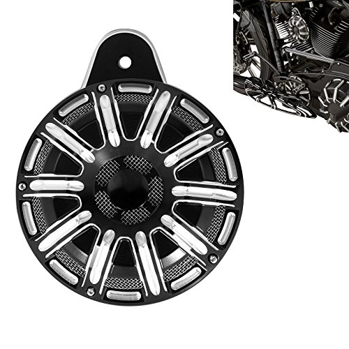 (10-Gauge Motorcycle CNC Deep Cut Horn Cover For Harley 1991-2017 Big Twin,Black)