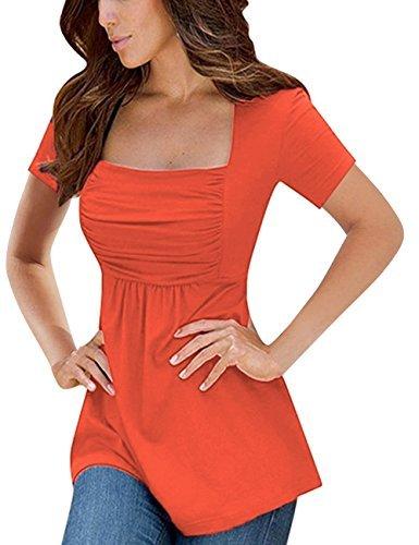 YesFashion Women Square Neck Empire Waist Shirt Short Sleeve A-Line Tunic Tops Orange XL