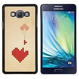 Juego de amor en globo de San Valentín del corazón- Metal de aluminio y de plástico duro Caja del teléfono - Negro - Samsung Galaxy A7 / SM-A700