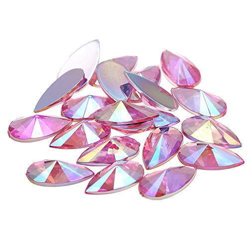 Nizi 9x18mm 200pcs Pink AB Tear Shape Acrylic Rhinestones Flatback Pointed Faceted Strass Gems 3D Nail Art Decorations Craft Art Accessories