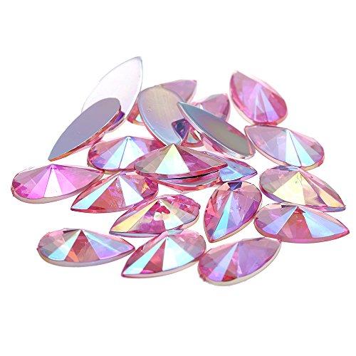 Nizi 9x18mm 200pcs Pink AB Tear Shape Acrylic Rhinestones Flatback Pointed Faceted Strass Gems 3D Nail Art Decorations Craft Art Accessories -