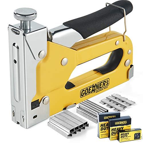 GOEHNER's Staple Gun with Staples, Heavy Duty Stapler 3 in 1 with 3000 Staples for Upholstery, Wood, DIY Fixing (Staple Gun) (Staple Gun)