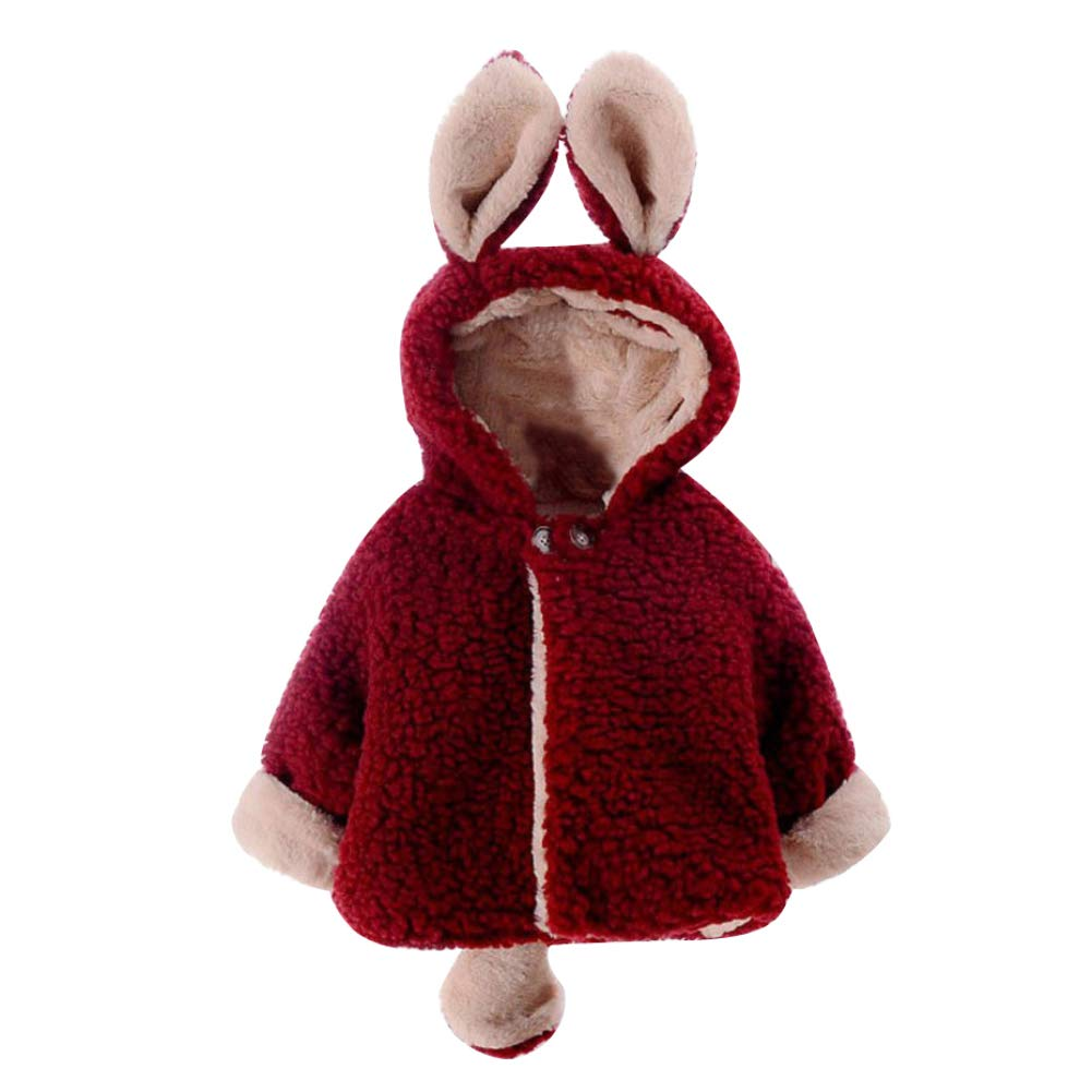 eroute66 Lovely Child Baby Girl Animal Ears Tail Hooded Cloak Warm Winter Coat Jacket Wine Red Baby-80