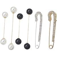 DXIA 4 Piezas Clips de Chal Suéter, Imperdibles Broches de Mujeres Clips, Blanco Negro Perla y Cristal Broches…