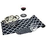 Black & White Set Trivetrunner with Coasters (6 pcs) :Decorative Trivet and Kitchen Table Runners Handles Heat Up to 300F, Anti Slip, Waterproof, and Convenient for Hot Dishes and Pots