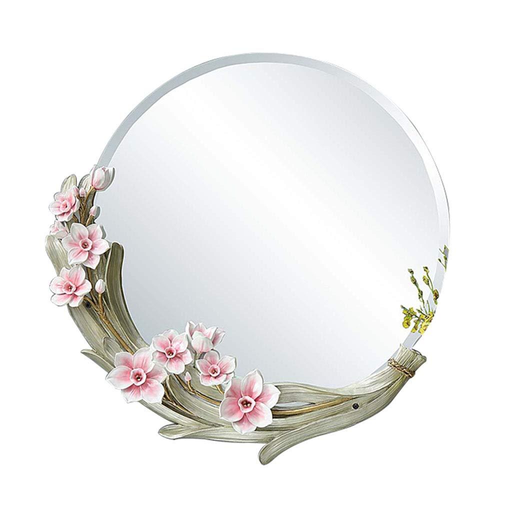 YELLOW 56CM(22INCH) Wall Mirror Creative Bathroom Mirror Makeup Mirror Decorative Vanity Mirror Round Decorative Mirror Wall Mounted Bathroom Mirror (color   Yellow, Size   56CM(22INCH))