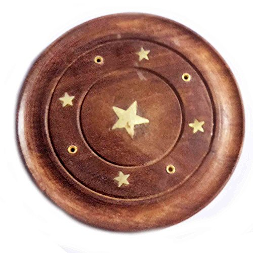 Round Handmade Wooden Incense Cone Saucer Plate Holder, Decorative Star Carved Incense Stick Stand Burner - Brown,4 inch