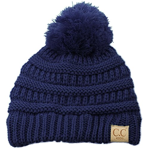 Kids Ages 2-7 Pompom Chunky Thick Stretchy Knit Slouch Beanie Cap Hat Navy