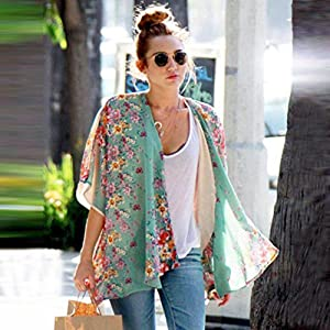 Women Sweater Coat,Beautyvan Women Boho Floral Printed Chiffon Shawl Kimono Cardigan Tops (L, Blue)