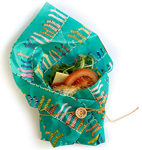 Clever Changes Organic Reusable Beeswax Sandwich Wrap - Washable and Compostable - Best For Storing Sandwiches And Vegetables - Eco Friendly Cotton - Bees Paper Wrap Sustainable Food Storage