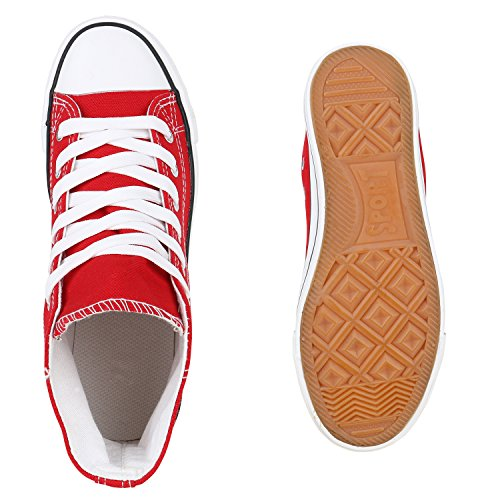 Stiefelparadies Herren Sneakers Basic Sneaker High Turnschuhe Stoffschuhe Herrenschuhe Schnürer Textil Schuhe Flats Denim Sportschuhe Flandell Rot Carlet