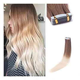 Rinboool Brown To Blonde Ombre Tape In Hair Extensions, 100% Real Natural Virgin Remy Human Hair, 14 Inch 40 Gram 20 Pcs, Roots Light Brown Fading To Platinum Blonde #10/60