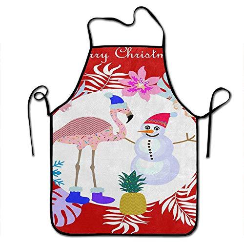 Starobkn Merry Christmas Flamingo Bird Snowman Snowflake Unisex Kitchen Bib Apron Women Men Chef Cooking Baking Gardening