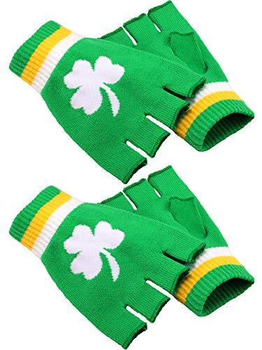 Boao 2 Pairs St. Patricks Day Fingerless Gloves Shamrock Half Finger Gloves for Man and Woman