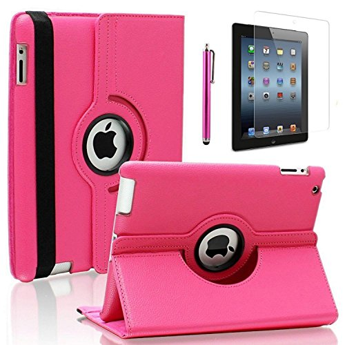 Zeox New iPad 9.7 inch 2017 / iPad Air Case - 360 Degree Rotating PU Leather Stand Protective Cover with Smart Auto Wake/Sleep for Apple New iPad 9.7 inch 2017/ iPad Air, Hot Pink -
