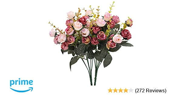 Amazon luyue 7 branch 21 heads artificial silk fake flowers amazon luyue 7 branch 21 heads artificial silk fake flowers leaf rose wedding floral decor bouquetpack of 2 pink coffee home kitchen mightylinksfo