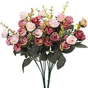 Luyue 7 Branch 21 Heads Artificial Silk Fake Flowers Leaf Rose Wedding Floral Decor Bouquet,Pack of 2 (Pink coffee) 1