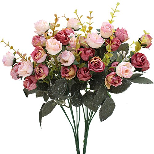 Luyue 7 Branch 21 Heads Artificial Silk Fake Flowers Leaf Rose Wedding Floral Decor Bouquet,Pack of 2 (Pink coffee) -