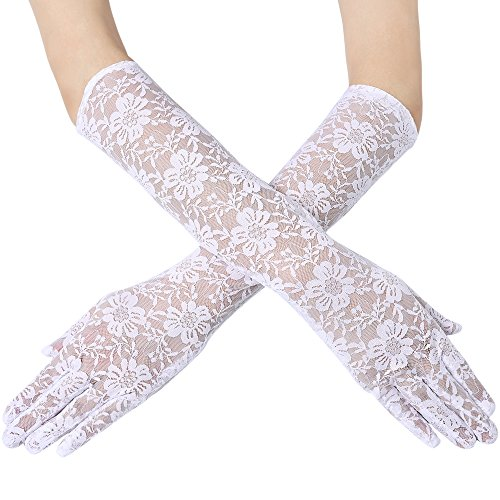 BABEYOND Long Floral Lace Gloves for Wedding 20s Opera Party Lace Gloves Stretchy Adult Size Elbow Length 18.1