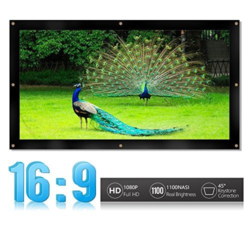 Portable Projector Screen16:9/4:3 Foldable HD Projector Screen Home Theater Cinema Projection Screen With Eyelets for HDTV/Sports/Movies/Presentations (Design : 16:9 Size : 72-inch) [並行輸入品]   B078992G7S