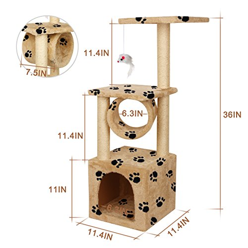 Yohoz 36in Deluxe Faux Fur Level Cat Tree Condo Furniture Climbing Activity Tower Scratching Scratcher Post Kittens Pet Play House and Tunnel Play Toy (Paw) by Yohoz (Image #5)