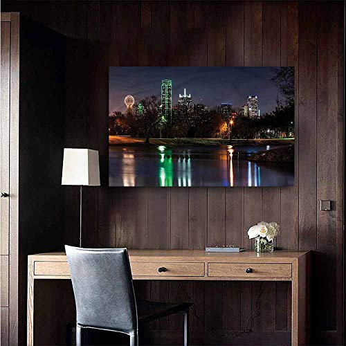 Gabriesl Wall Mural Wallpaper Stickers USA Dallas City Skyline Lake Park Children's Room Wall Size : W20 x H16 ()