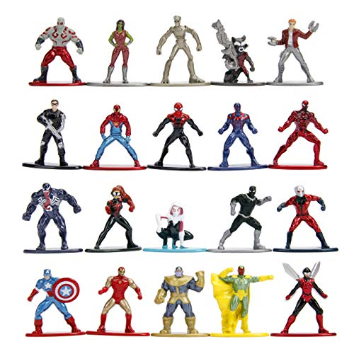 Jada Toys Marvel Nano METALFIGS 20-Pack Wave 1 Die-Cast Figures, 1.65 Inches, Collectible Figurines, 100% Metal