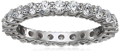 Platinum-Plated Sterling Silver All-Around Band Ring set with Round Swarovski Zirconia (1 cttw), Size 6