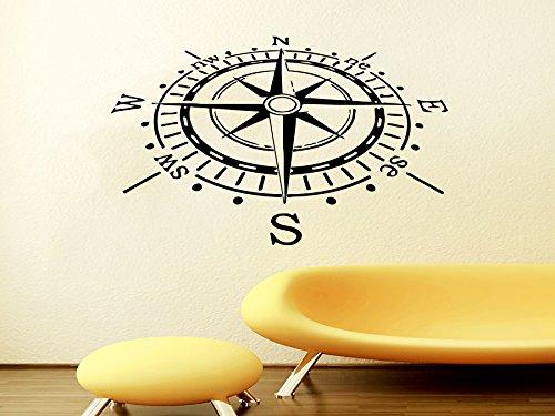 Compass Wall Decal Bathroom Art Sea Nautical Compass Rose Navigate Vinyl Sticker Decals Art Home Decor Wall Decal Bedroom Ship Ocean NS607