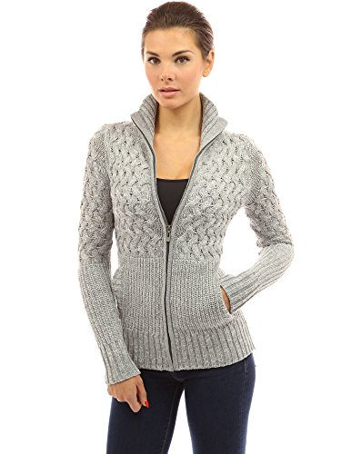 PattyBoutik Women Mock Neck Marled Zip Up Cardigan (Light Gray and White Large) (Marled Cardigan Sweater)
