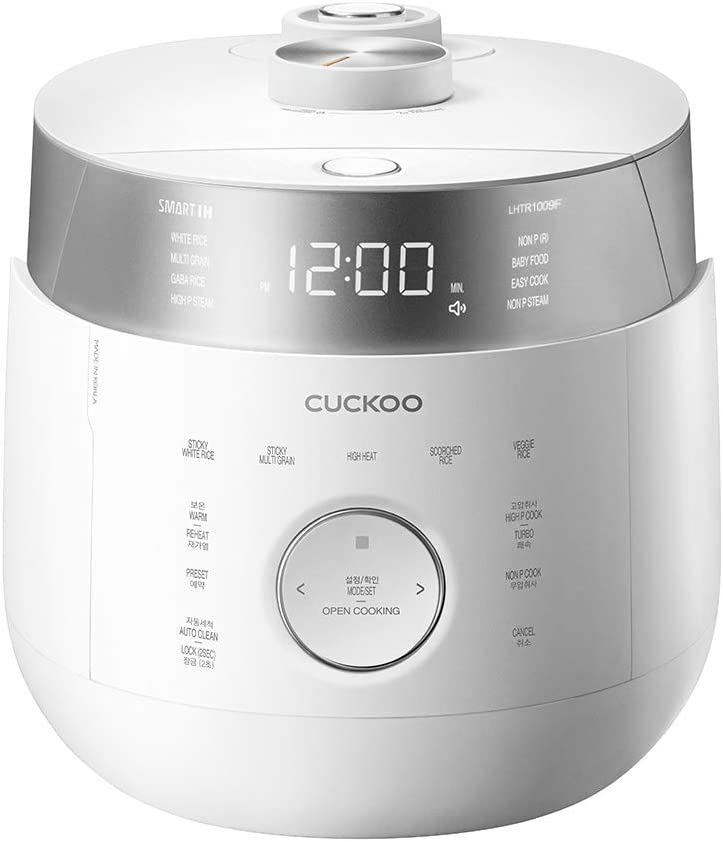 Cuckoo CRP-LHTR1009F(10 Cup), CRP-LHTR0609F(6 Cup) Induction Heating Twin Pressure Rice Cooker & Warmer with GABA, Mixed, Scorched, Turbo, Steam(Ultra High/Non Pressure) and more, Made in Korea(White) (10 Cup)