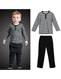 Chinatera Kids Girls Boys Black White Striped T-Shirt Tops +Casual Pants Outfits