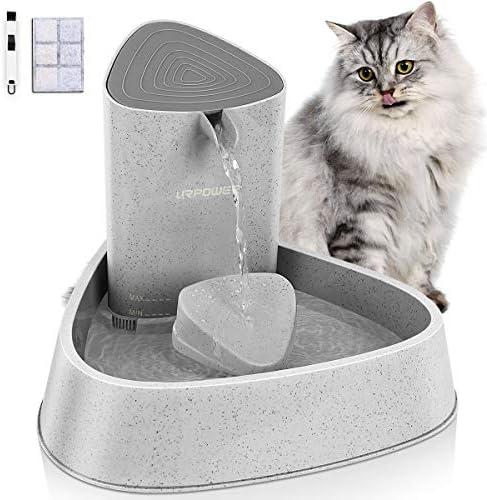 Fuente para mascotas URPOWER fuente automática mejorada para gatos fuente de agua para perros dispensador de agua para gatos ajuste de flujo de agua ajustable fuente para beber cuenco para gatos perros mascotas