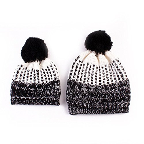 [2Pcs (Black Color ) Mother &Child Baby Boy Girl a Warm Winter Knit Beanie Pom Hat Crochet Ski Cap] (Halloween Costumes 36 Months)