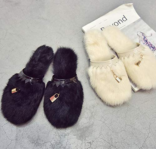 Heel Soft Flat Toe Slippers Plush DANDANJIE Black Closed Fashion Winter Autumn Women's Shoes YZvwf8