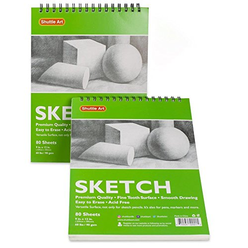 Artists Sketch Books, 9 x 12 Shuttle Art 160 Sheets of Sketch Paper pad Ideal for Drawing and School Supplies (2 Pack) by Shuttle Art