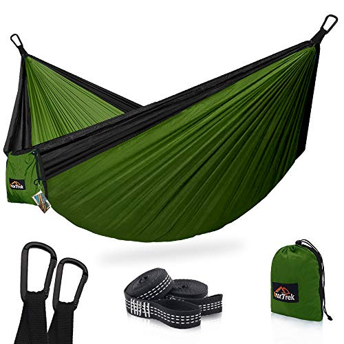 AnorTrek Camping Hammock, Super Lightweight Portable Parachute Hammock with Two Tree Straps (Each Two Loops), Single & Double Nylon Hammock for Camping Backpacking Travel Hiking (Olive Green&Black)