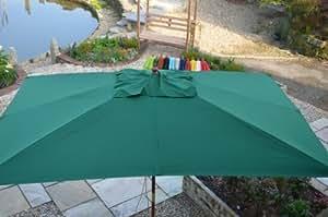 3x2m / 9.8x6.5ft Rectangular Wooden Garden Parasol Green