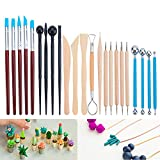 BENECREAT 23PCS Ball Stylus Dotting Modeling Tools Pottery Carving Tool Set - Includes Clay Color Shapers, Modeling Tools & Wooden Sculpture Knife for Professional Or Beginners