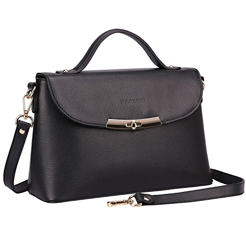- Banuce Black Genuine Leather Handbag for Women Handle Tote Messenger Satchel Purse Shoulder Bag