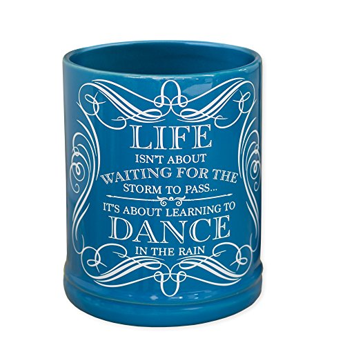 (Elanze Designs Life Learning Dance in The Rain Blue Stoneware Electric Jar Candle)