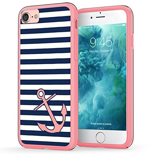 iPhone 7 Case, Anchor iPhone 8 Case, True Color Nautical Coral Anchor on Stripes Hybrid Hard Back Cover + Soft Slim Durable Protective Shockproof Rubber TPU Bumper - Pink