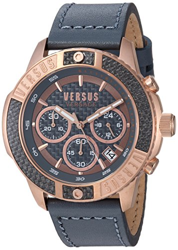 Versus by Versace Men's 'Admiralty' Quartz Gold-Tone and Leather Casual Watch, Color:Grey (Model: VSP380317)