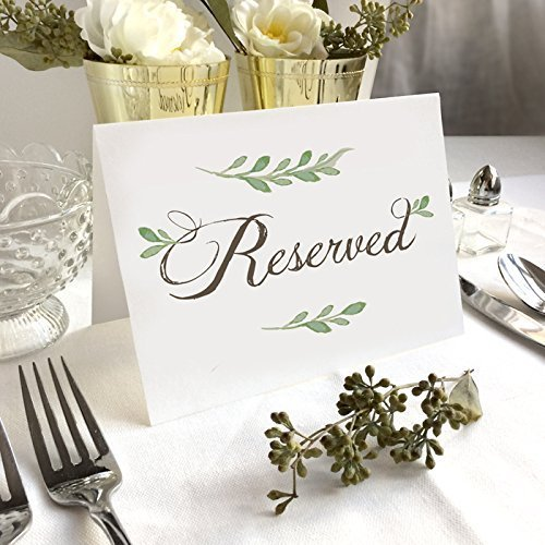 """B074SZYJXP 4 Pack- White Greenery Reserved Wedding Table Signs - Folded Freestanding White Table Signs (4) - 6.25"""" x 4.5"""" 51ojudlm2uL"""