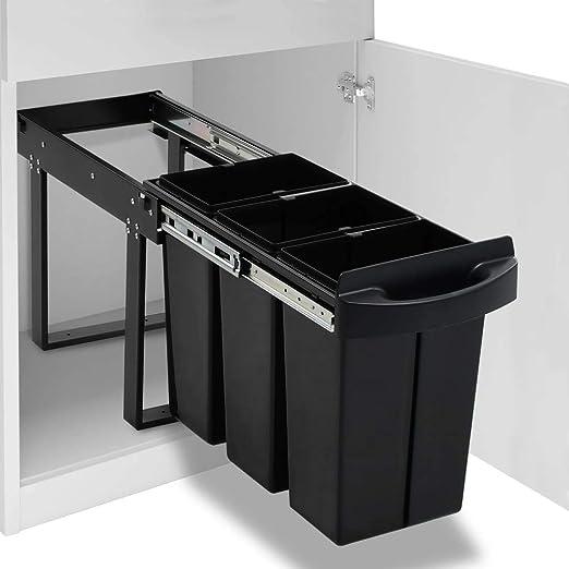 vidaXL Abfallbehälter für Küchenschrank Ausziehbar Soft