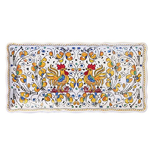 """Le Cadeaux 10"""" x 5"""" Rooster Biscuit Tray, Yellow"""
