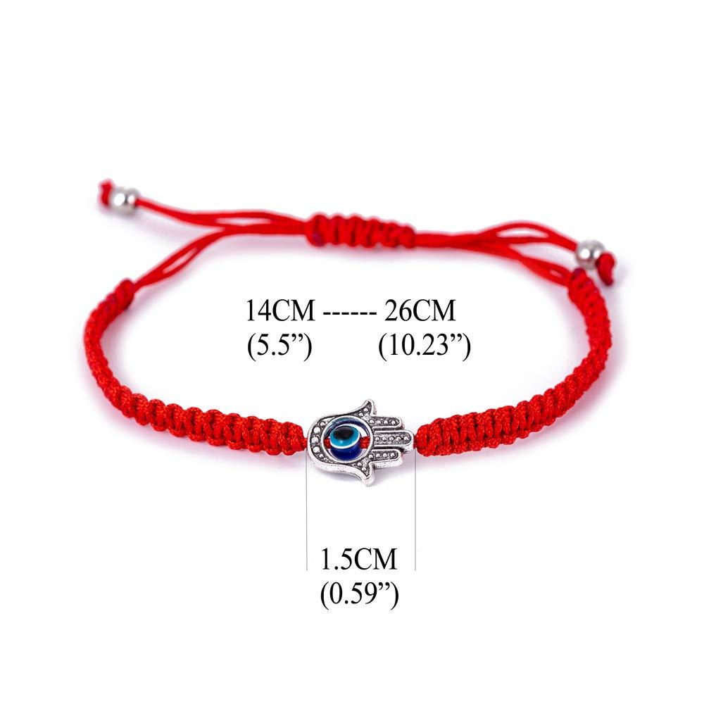 1pc Evil Eye Hamsa Hand String Kabbalah Bracelets for Protection and Luck Hand-Woven Red Black Cord Thread Friendship Bracelet Anklet HS025-1